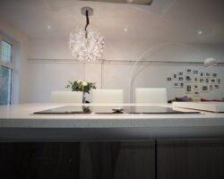 Winsford Gardens kitchen island with white ceiling