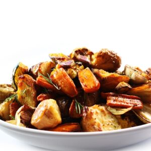 roasted vegetables in a plate