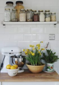 kitchen counter top with jars of spices and flower pots