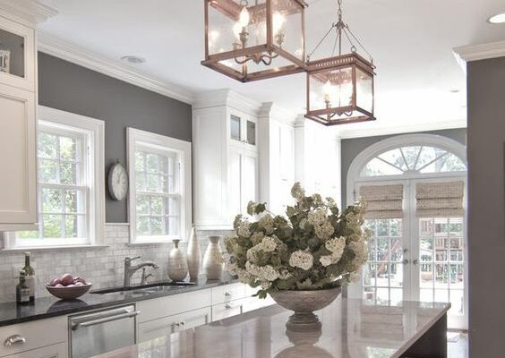 grey layering kitchen design