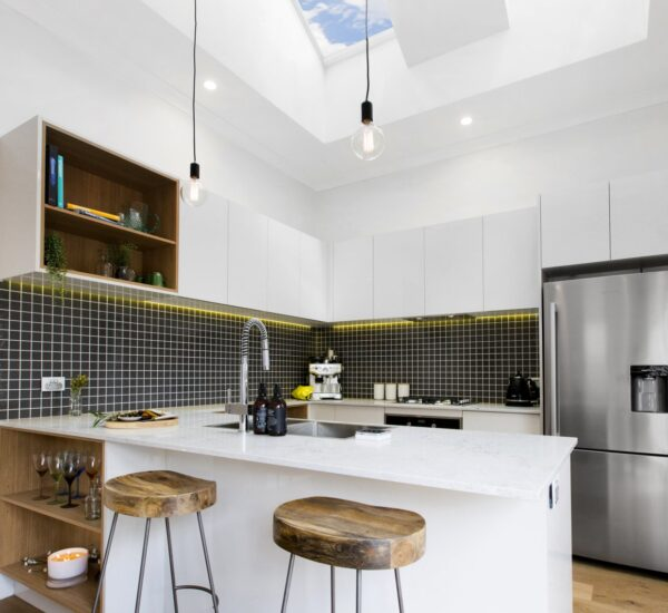 kitchen with a glass ceiling
