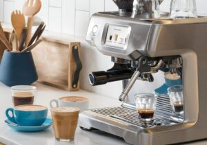 modern coffee machine in counter top