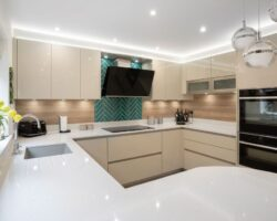 Sandhill Road modern kitchen design with drawers and cupboards