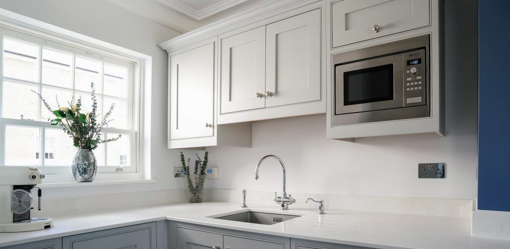Hamilton House kitchen corner with built in cabinets