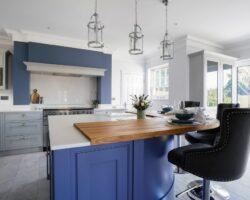 Hamilton House kitchen island with stool and interior