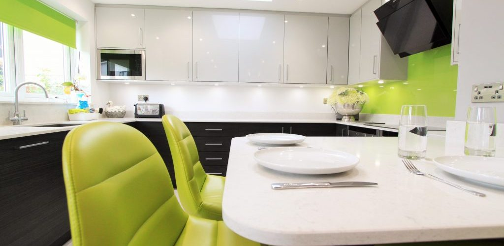 Woodford Avenue kitchen design with lime green chairs