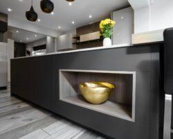 Wansunt Road granite and grey kitchen island