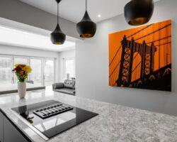 Wansunt Road with a orange bridge painting