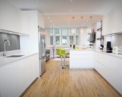 High Road Rayleigh wide space all white kitchen design