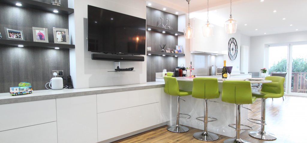 High Road Rayleigh Modern galley kitchen with tv