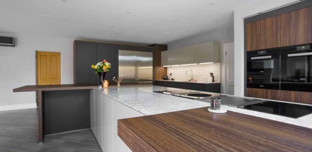 Kiln House Hall Road stylish wood and marble kitchen island