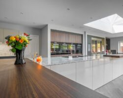 Uploaded ToKiln House Hall Road mixed marble and wood kitchen design