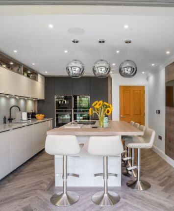 Whitehouse Chase white and grey kitchen frontal view