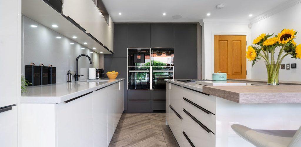 Whitehouse Chase white and grey kitchen design