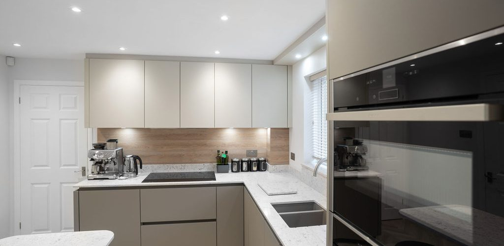 Oak Close kitchen cabinets with appliances