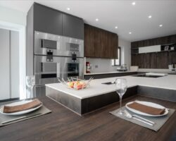 Teignmouth Drive dark and sleek kitchen set up