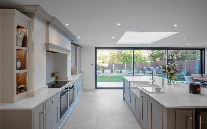 Weare Giffard classy kitchen glass view