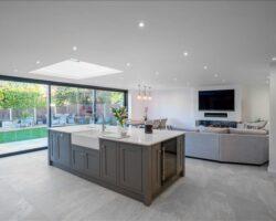 Weare Giffard kitchen island and entertainment view