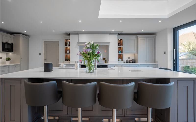 Weare Giffard kitchen island with stool